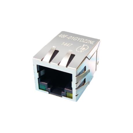 48F Series Single Port 100/1000 Base-T TAB Down RJ45 Jack With Magnetics